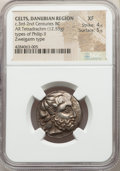 Ancients: DANUBE REGION. Uncertain tribe. Ca. 3rd-2nd centuries BC. AR tetradrachm (23mm, 12.53 gm, 1h). NGC XF 4/5 - 5/...