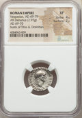 Ancients:Roman Imperial, Ancients: Vespasian (AD 69-79), with Titus and Domitian. ARdenarius (18mm, 2.97 gm, 5h). NGC XF 4/5 - 2/5....