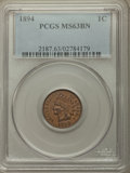 Indian Cents: , 1894 1C MS63 Brown PCGS. PCGS Population: (113/125). NGC Census: (79/150). CDN: $90 Whsle. Bid for problem-free NGC/PCGS MS...