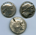 Ancients:Ancient Lots  , Ancients: ANCIENT LOTS. Greek. Macedonian and Seleucid Kingdoms.Ca. 336-246 BC. Lot of three (3) AR tetradrachms. VG-Fine, testcuts, b... (Total: 3 coins)