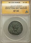 Ancients: Julia Mamaea (AD 222-235). AE sestertius (29mm, 12h). ANACS VF 30, smoothed