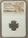 Ancients: Constans (AD 337-350). AE4 or BI nummus (15mm, 1.60 gm, 1h). NGC MS★ 5/5 - 5/5