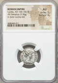 Ancients:Roman Imperial, Ancients: Lucilla (AD 164-182/3). AR denarius (19mm, 3.36 gm, 6h).NGC AU 5/5 - 3/5....