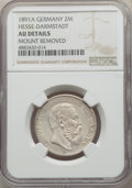 German States: Hesse-Darmstadt. Ludwig IV 2 Mark 1891-A AU Details (Mount Removed) NGC