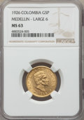 Colombia, Colombia: Republic gold 5 Pesos 1926 MS63 NGC,...