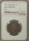 Colonials, 1722 PENNY Rosa Americana Penny, UTILE, Fine 12 NGC. NGC Census: (4/31). PCGS Population: (1/78). ...
