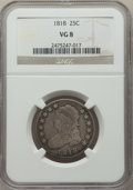 Bust Quarters: , 1818 25C VG8 NGC. NGC Census: (23/381). PCGS Population: (90/804). VG8 . Mintage 361,174. ...