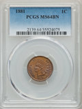 Indian Cents: , 1881 1C MS64 Brown PCGS. PCGS Population: (104/30). NGC Census: (96/34). CDN: $120 Whsle. Bid for problem-free NGC/PCGS MS6...