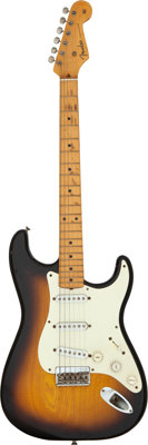 Graham Nash 's 1954 Fender Stratocaster Sunburst Solid Body Electric Guitar, Serial #1091