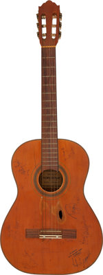Willie Nelson's Acoustic Guitar Signed by Johnny Cash and Others Serial # 222N Owned and Played by Graham Nash Along Wit...