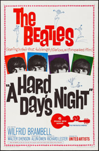"A Hard Day's Night (United Artists, 1964). Folded, Very Fine. One Sheet (27"" X 41""). Rock and Roll"