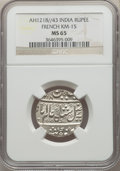 India: French India. Arcot Rupee AH 1218 Year 43 (1844/5) MS65 NGC