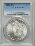 1885-CC $1 MS66 PCGS. PCGS Population: (1285/98). NGC Census: (683/100). CDN: $1,600 Whsle. Bid for problem-free NGC/PCG...