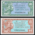 Military Payment Certificates:Series 611, Series 611 10¢ Gem New;. Series 611 25¢ Gem New.. ... (Total: 2 notes)