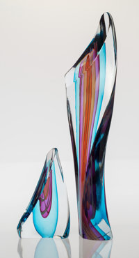 Harvey K. Littleton (American, 1922-2013) Sliced Form, 1987 Blown and drawn glass, cut and polished<