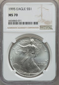 Modern Bullion Coins, 1995 $1 Silver Eagle MS70 NGC. NGC Census: (733). PCGS Population: (53). Mintage 4,672,051. ...