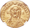 Ancients:Byzantine, Ancients: Justinian II, first reign (AD 685-695). AV solidus (20mm,4.48 gm, 7h). NGC MS 4/5 - 4/5....