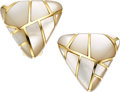 Estate Jewelry:Earrings, Mother-of-Pearl, Gold Earrings, Angela Cummings. ...