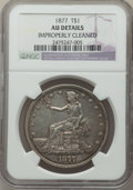 Trade Dollars: , 1877 T$1 -- Improperly Cleaned -- NGC Details. AU. NGC Census: (22/441). PCGS Population: (45/506). AU50. Mintage 3,039,710...