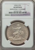 Trade Dollars: , 1874-S T$1 -- Improperly Cleaned -- NGC Details. AU. NGC Census: (10/317). PCGS Population: (34/417). AU50. Mintage 2,549,0...