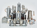 Decorative Accessories, Various Schools. Fourteen-Piece Group of Art Deco Barware and Tableware. Chromed metal, aluminum, glass, plastic. 12-1/2... (Total: 14 Items)