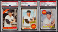 Baseball Cards:Lots, 1966-69 Topps Mickey Mantle PSA Graded Trio (3)....