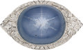 Estate Jewelry:Brooches - Pins, Art Deco Star Sapphire, Diamond, Platinum Brooch. ...
