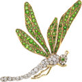 Estate Jewelry:Brooches - Pins, Antique Diamond, Demantoid Garnet, Platinum-Topped Gold, Gold Brooch. ...