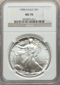 Modern Bullion Coins: , 1988 $1 Silver Eagle MS70 NGC. NGC Census: (552). PCGS Population: (41). ...