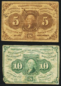 Fractional Currency:First Issue, Fr. 1230 5¢ First Issue Fine.. Fr. 1242 10¢ First Issue Fine.. ... (Total: 2 notes)