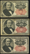 Fractional Currency:Fifth Issue, Fr. 1308 25¢ Fifth Issue Fine;. Fr. 1309 25¢ Fifth Issue (2) Fine..... (Total: 3 notes)