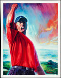 Golf Collectibles:Art, Tiger Woods Signed Limited-Edition ''Tiger Roars'' Lithograph, Upper Deck Authenticated....