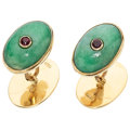 Estate Jewelry:Cufflinks, Ruby, Jadeite Jade, Gold Cuff Links. ...