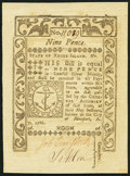 Colonial Notes:Rhode Island, Rhode Island May 1786 9d Choice About New.. ...