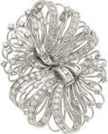 Estate Jewelry:Brooches - Pins, Diamond, Platinum, White Gold Double-Clip-Brooch. ...