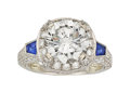 Estate Jewelry:Rings, Diamond, Synthetic Sapphire, Platinum Ring . ...