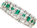 Estate Jewelry:Bracelets, Emerald, Diamond, Platinum Bracelet, Van Cleef & Arpels . ...