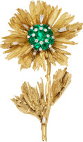 Estate Jewelry:Brooches - Pins, Emerald, Diamond, Gold Brooch The flower brooc...