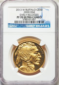 Modern Bullion Coins, 2013-W $50 One-Ounce Gold Buffalo, Early Releases PR70 Ultra Cameo NGC. NGC Census: (1493). PCGS Population: (1144)....