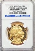 2010-W $50 One-Ounce Gold Buffalo, Early Releases PR70 Deep Ultra Cameo NGC. NGC Census: (1946). PCGS Population: (1228)...