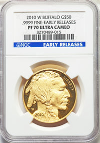 2010-W $50 One-Ounce Gold Buffalo, Early Releases PR70 Ultra Cameo NGC. NGC Census: (1946). PCGS Population: (1228)....(...