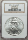 Nine-Piece 2001 to 2009 Silver Eagle Set, MS70 NGC. Housed in individual holders