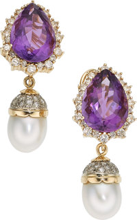 Diamond, Amethyst, Cultured Pearl, Gold Earrings