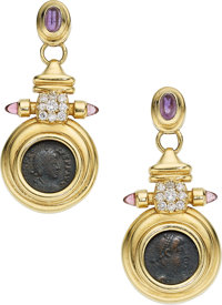 Ancient Coin, Diamond, Multi-Stone, Gold Earrings