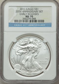 Modern Bullion Coins, Five-Piece 25th Anniversary Silver American Eagle Set, Early Releases, NGC. The set includes the 2011 Eagle MS70, 2011-S E... (Total: 5 Item)