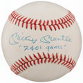 "Autographs:Baseballs, 1985-89 Mickey Mantle ""'2401 Games"" Single Signed Baseball...."