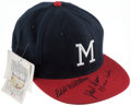 Baseball Collectibles:Hats, Milwaukee Braves Multi-Signed Hat (9 Signatures)....