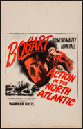 """Movie Posters:War, Action in the North Atlantic (Warner Brothers, 1943). Very Fine-. Window Card (14"""" X 22""""). War.. ..."""