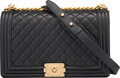 """Luxury Accessories:Bags, Chanel Black Quilted Calfskin Leather New Medium Boy Bag with Aged Gold Hardware. Condition: 2. 11"""" Width x 7"""" Height ..."""