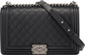 """Luxury Accessories:Bags, Chanel Black Quilted Calfskin Leather New Medium Boy Bag with Ruthenium Hardware. Condition: 2. 11"""" Width x 7"""" Height ..."""